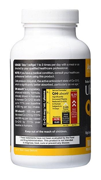 Jarrow formulas ubiquinol qh absorb 100 mg 120 softgels